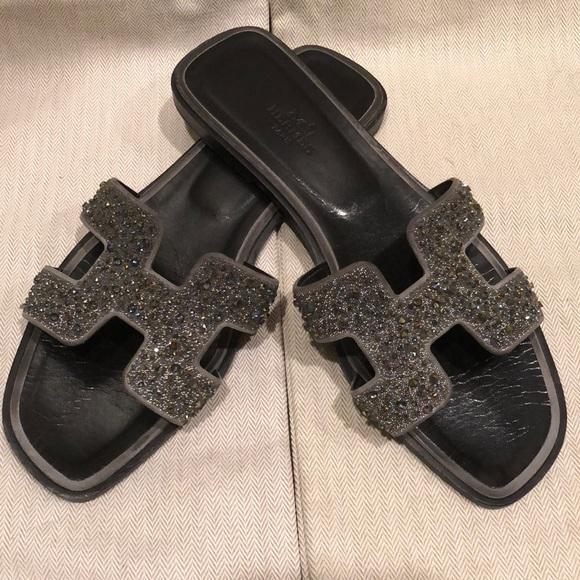 Herms Black Metallic Silver H Flat Oran